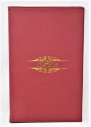 Picture of ( 8.5 x 14-Inch ) Menu Cover red wine Leather-Like Booklet Four-Views